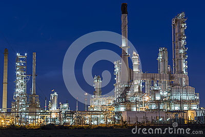 Oil refinery plant against