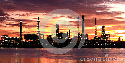 Oil Refinery plant area morning