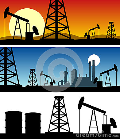 Oil Refinery Silhouette Banners