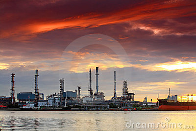 Oil refinery at twilight, Bangkok Thailand