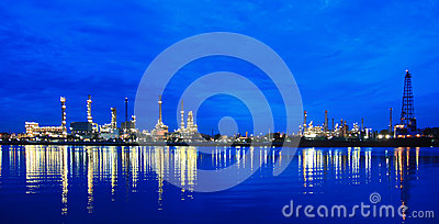 Oil refinery at twilight  at morning