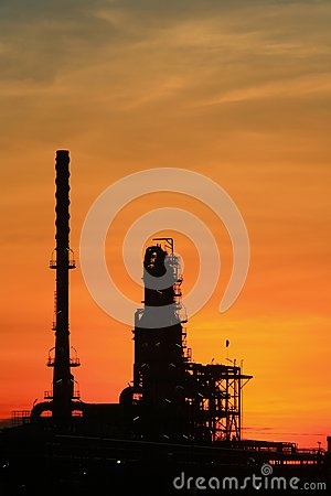 Oil refinery at twilight Thailand