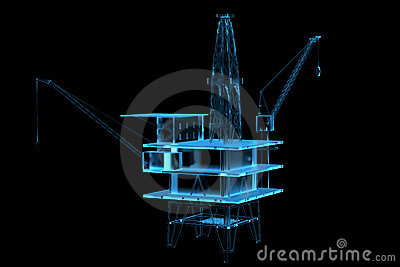 Oil rig (3D xray blue)