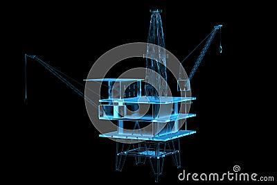 Oil rig (3D xray blue)