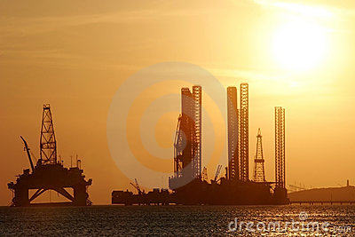 Oil rig in the Caspian Sea
