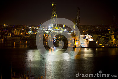 Oil Rig at night Malta
