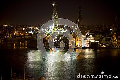 Oil Rig at night Malta