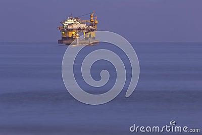 Oil rig night ocean