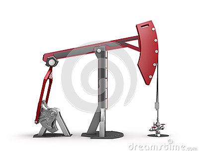 Oil Rig : Pump jack  on white