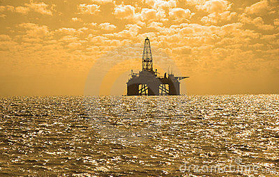 Oil rig during sunset in Caspi