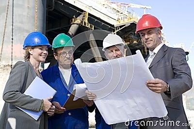 Oil rig survey team