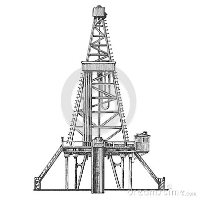 Oil derrick on a white background. the sketch. vector illustration.