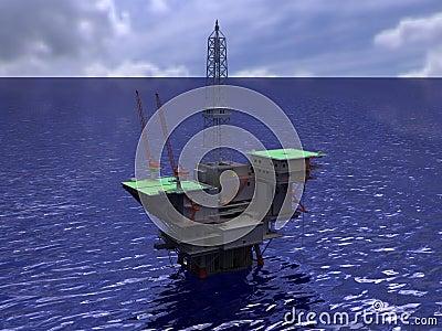 Oil rig on water rendering