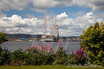 Oil rigs being constructed