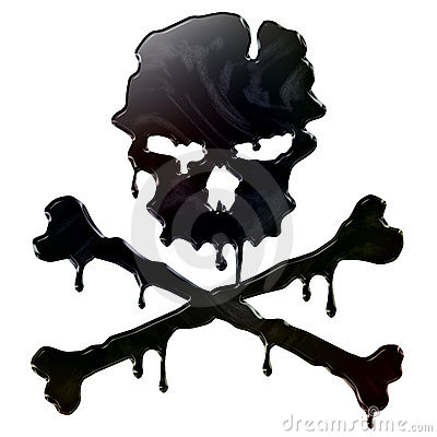 Oil Spill Skull and Crossbones