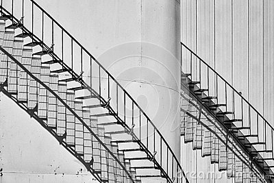 Oil storage staircase shadows