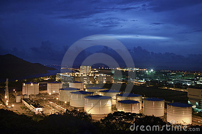 Oil Storage Tanks at Night