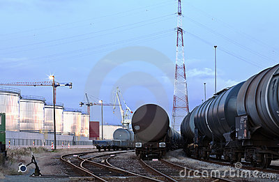 Oil tank cars in twilight