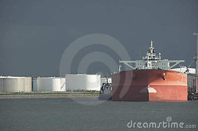 Oil tanker in harbour