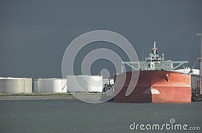 Oil tanker in harbour