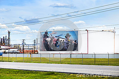 Oil tanks are painted with historic editorial stock image for La porte texas usa