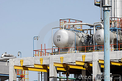 Oil tanks in a refinery