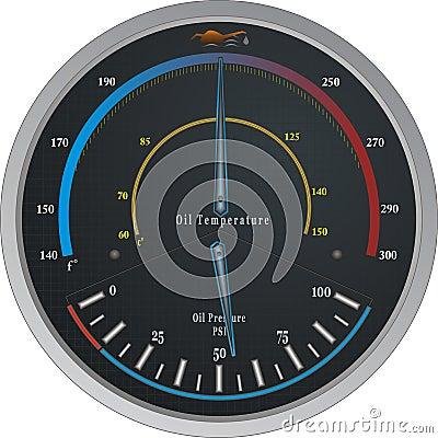 Oil Temperature/Pressure Gauge Vector