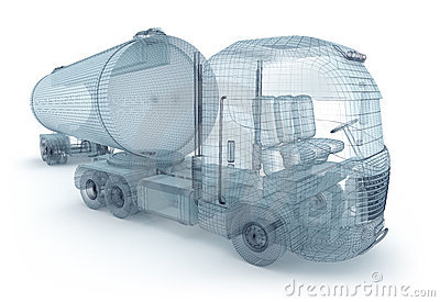 Oil truck with cargo container, wire model