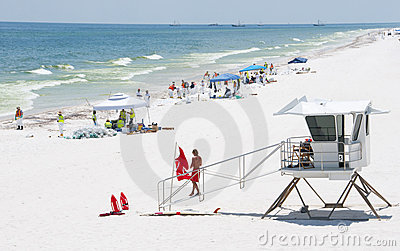 Oil washes ashore in Pensacola Beach Editorial Stock Photo