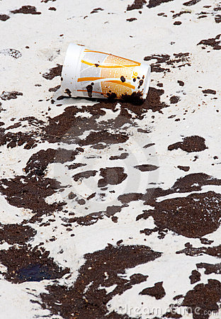 Oil washes ashore in Pensacola Beach Editorial Photography