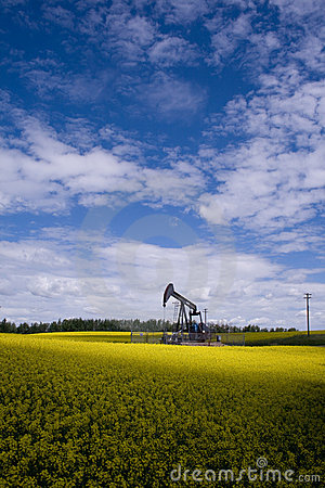Free Oil Well In Yellow Field Royalty Free Stock Image - 5722856