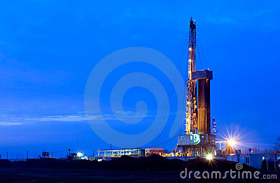 Oil well at night