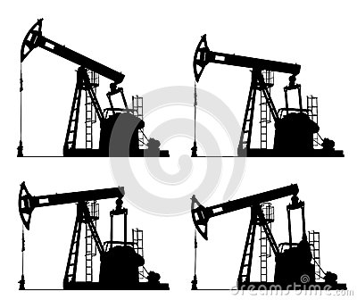 Oil well pump jack silhouette