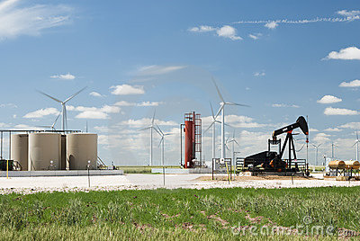 Oil well and wind farm