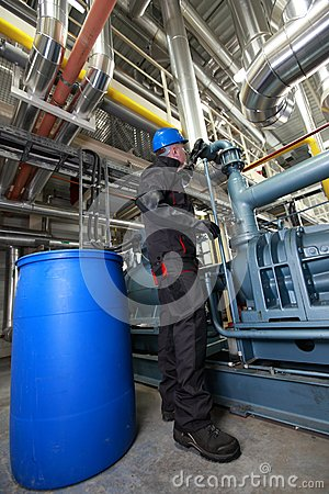 Oil Worker inside refinery