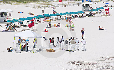 Oil workers replace tourists on Pensacola Beach Editorial Photo