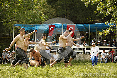 Oil wrestling in Turkey Editorial Photo