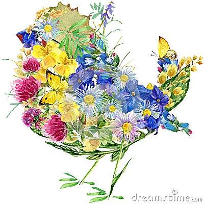 Oiseau, fleurs et papillons d aquarelle