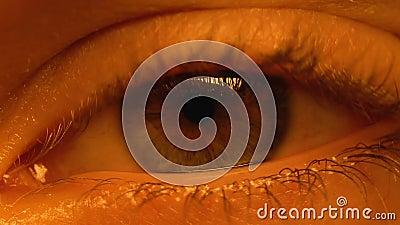 Ojo del paciente que despierta después de la coma profunda, tratamiento en clínica, cirugía, cierre para arriba almacen de metraje de vídeo