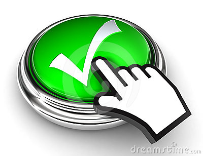 Ok check mark symbol on green button