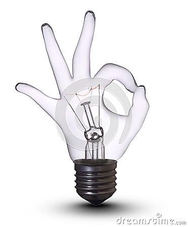 Free Ok Hand Lamp Bulb Royalty Free Stock Photos - 8325198