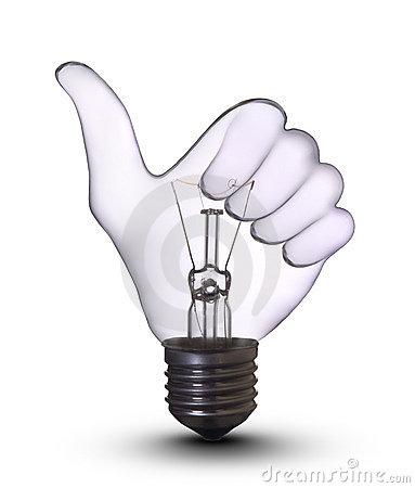 Free Ok Hand Lamp Bulb Royalty Free Stock Image - 8325206
