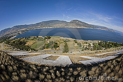 Okanagan Lake and Penticton with mountains
