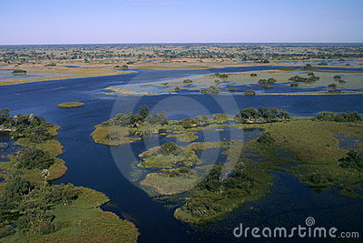 Okavango Dreieck durch Flugzeug