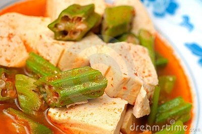 Okra and bean curd cuisine