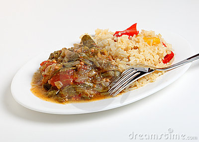 Okra stew and cajun rice