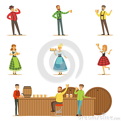 Oktoberfest Beer Festival Scenes With People In Bavarian Traditional Costumes Drinking Beer And Having Fun Set Vector Illustration