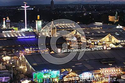 Oktoberfest beer tents at night Editorial Stock Photo