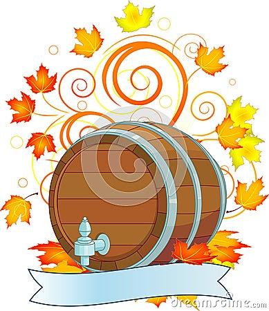 Oktoberfest design with keg
