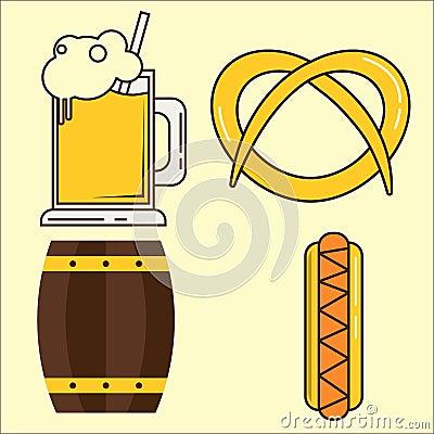 Oktoberfest element. Set of beer glass, barrel, hotdog flat illustration. Simple set of oktoberfest and minimal flat Vector Illustration